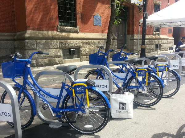 Hamilton Bike Share set up a couple of stations where people could try out the bikes