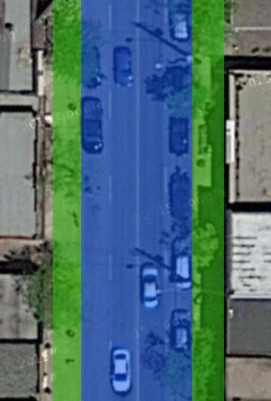 Ottawa Street North, just north of Cannon Street. Blue area is dedicated for cars, green area for everything else (Image Credit: Google Maps)
