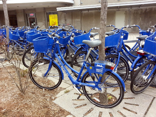 SoBi bikes parked at the Hunter Go Station (RTH file photo)