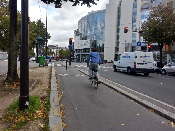 Curb-protected two-way cycle track