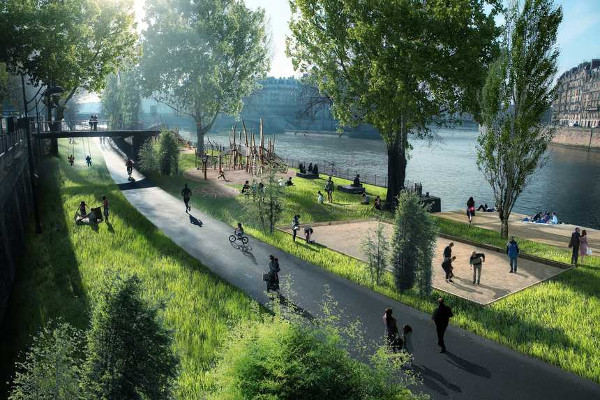 Proposed linear park along the Seine