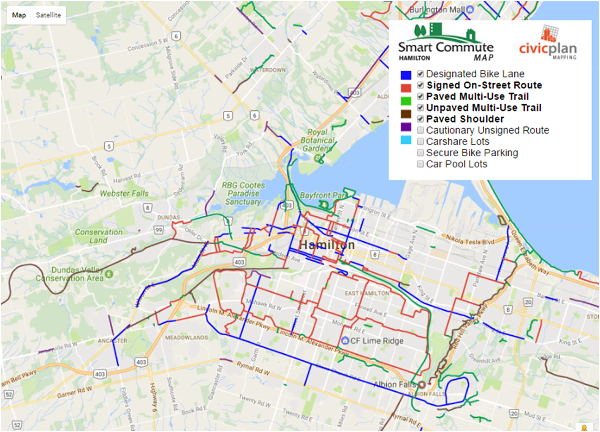 Figure 1: Bike lanes, routes, and trails in Hamilton (Smart Commute 2017)