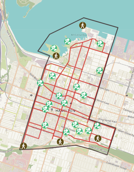 Map: Ward 2 Major Streets and Green Spaces