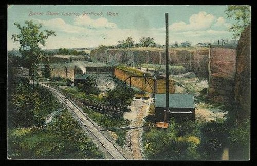 Figure 1. A postcard view of the Portland brownstone quarry (about 1910, from Wikipedia).