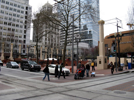 Across from Pioneer Square.