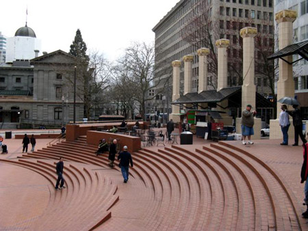 Pioneer Square, heart of the city. Each brick has a name stamped on in memory of their donation to construct the square.