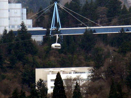 Portland's newest mode of transportation - aerial tram.