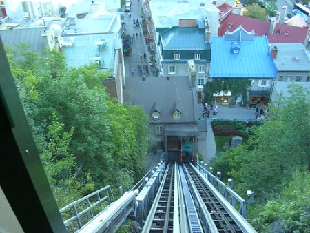 Quebec's Funiculaire - Great views.  But at $1.75 the price was bit, ahem - steep