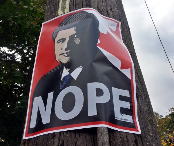Anti-Stephen Harper poster in southwest Hamilton by artist Bob Preston