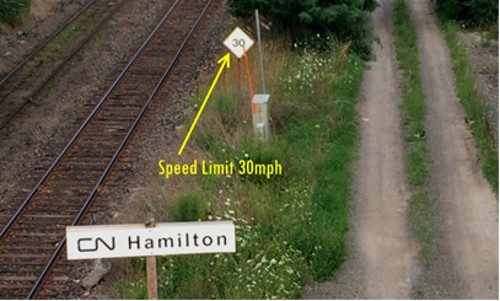 North American railroad speed limit signs are in miles per hour, even in Canada