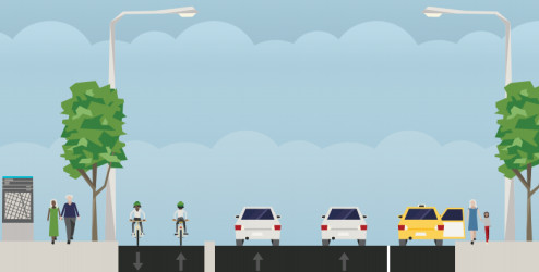 Rendering from staff report on Hunter Street bike lane connection