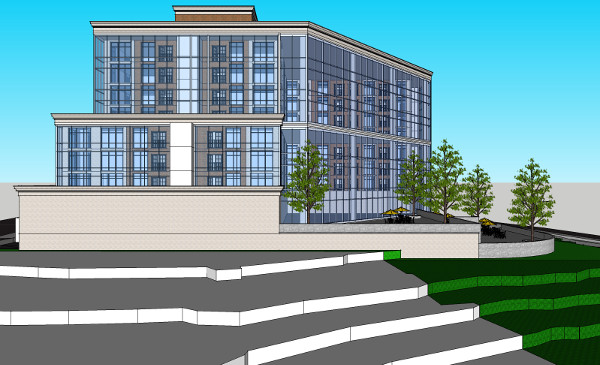 The north elevation of White Star's proposal for a building on the west side of Bay, 2012 version. The north and west sides are entirely glass, to buffer noise from the railyard without losing the views.