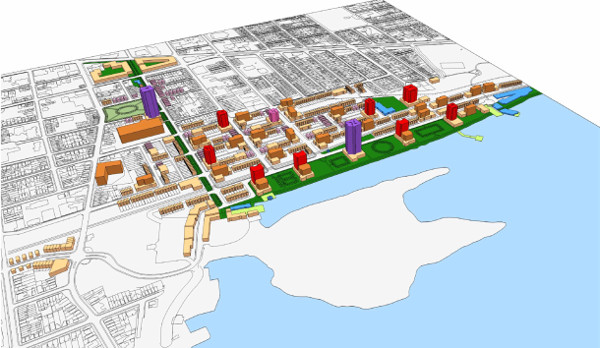 The Curran plan for the rail yard and beyond. Omitted from this expansive plan, which overflows Barton-Tiffany for several blocks in all directions, is Mr. Curran's proposal that the low density public housing survey bounded by Strachan, Ferrie, James and MacNab in the North End be replaced with a high density development of some sort.