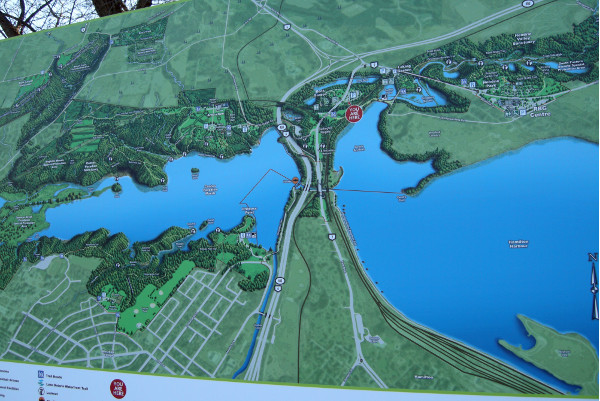 The bigger picture. This sign is at the entrance to the Rock Gardens. Barton-Tiffany is just off the map at the lower right. Not highlighted is the wooded strip that runs along the harbour side of Burlington Heights to Queen. Obviously our best course would be to extend the wooded shoreline eastward through Barton-Tiffany and the rail lands, but this is unlikely to win wide acceptance until 2150 or so - assuming the land is still above water at that time.