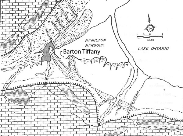 The Iroquois Bar is the dotted area that runs across the lower city. The pencil-shaded area indicates the pre-railroad outlet by which Cootes Paradise drained into the Harbour. Barton-Tiffany lies in the cove between two lobes of the Bar. Source: Mark Sproule-Jones, Hamilton and its Harbour.