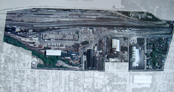 Barton-Tiffany in 1986. The blocks from Tiffany in the east to Queen in the west have been cleared. Source: Industrial Land Use in Hamilton Wentworth, City of Hamilton, 1986.