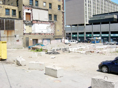The rear of the Connaught sits empty and underused as a surface parking lot (RTH file photo)