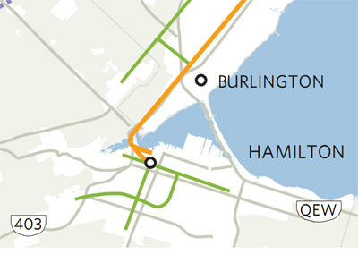 Transit Map from the leaked RTP draft shows three rapid transit lines in Hamilton (Image Credit: Toronto Star)