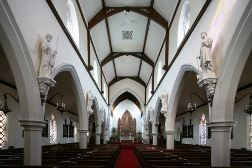 Fig. 2. Paris, Sacred Heart Roman Catholic Church, interior to E (W), John Maxwell (1857), clerestory by John Turner (1881).