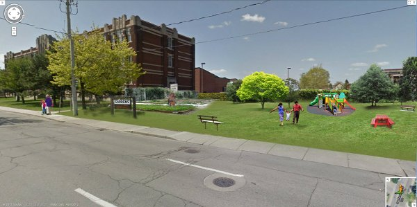 Conceptual Drawing: Sanford School parking lot converted into a new park (Image Credit: Google Streetview)