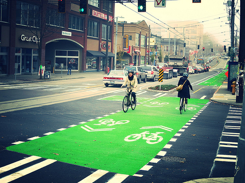 Broadway Protected Bike Lane intersection markings (Image Credit: City of Seattle)