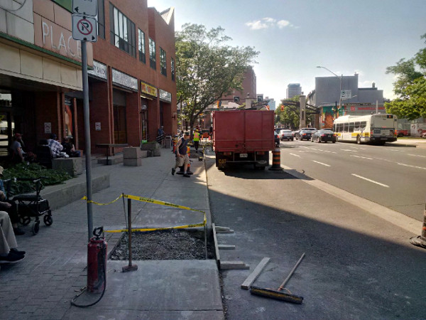 Sidewalk reconstruction on King Street East between Victoria and Wellington