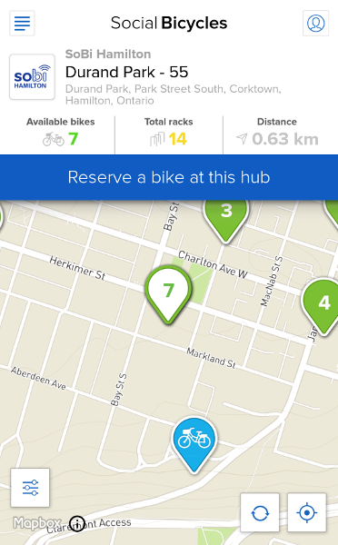 Reserve a bike at a hub