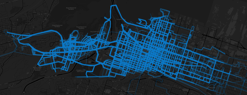 Hamilton Bike Share routes heat map, December 1, 2015 to December 6, 2015