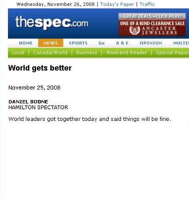 Screen capture of the Spectator article titled 'World gets better'