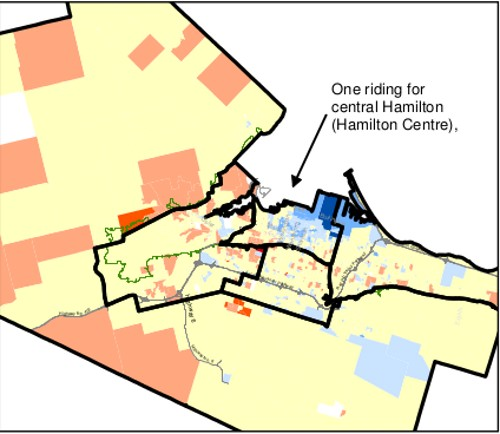 Map 2: First set of boundaries for Hamilton's five ridings from the 2012 Federal Electoral Boundaries Commission for Ontario (October 2012)
