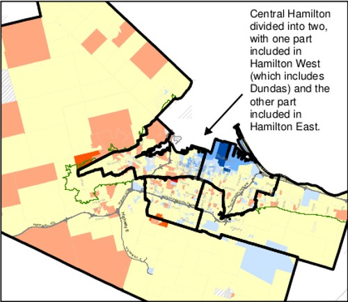 Map 3: Revised set of boundaries for Hamilton's five ridings from the 2012 Federal Electoral Boundaries Commission for Ontario (November 2012)