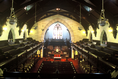 Fig. 1. Hamilton, St Paul's Presbyterian Church, interior from the east gallery.