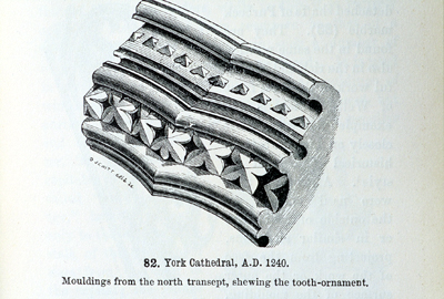 Fig. 4. York Minster, detail of N transept arcade, from John Henry Parker's, Introduction to the Study of Gothic Architecture, 1849.