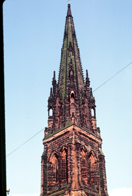Fig. 6. Cheadle (Staffordshire), St Giles, belfry and spire.
