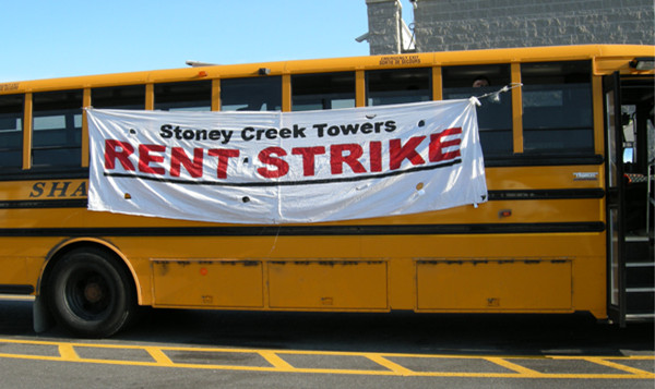 As their strike entered its fourth month, Stoney Creek Towers tenants and supporters made a field trip from Hamilton to Ottawa to deliver greetings to CLV/InterRent at home office. After three hours of police-mediated negotiations, the company agreed to accept a letter from their tenants.