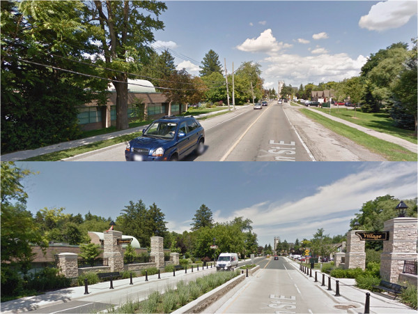 Wilson Street in Ancaster, Before and After traffic calming (Image Credit: Google Street View)