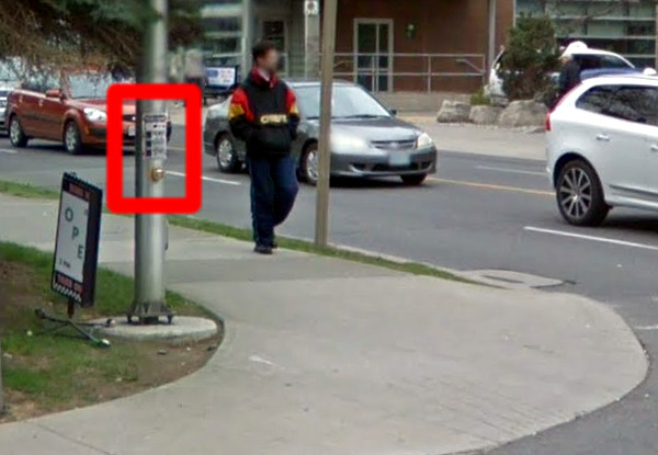 South side of Young Street at James showing beg buttons (Image Credit: Google Street View)
