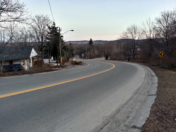 Looking down Sydenham Road from near the falls