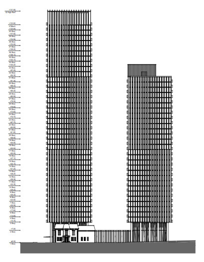 Television City architectural plans, north elevation A13