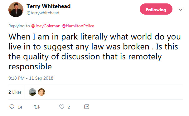 Screengrab of Terry Whitehead's tweet posted at 9:18 PM