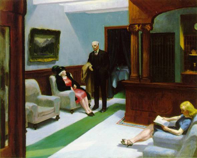 Edward Hopper, Hotel Lobby 1943 (courtesy of artchive.com)