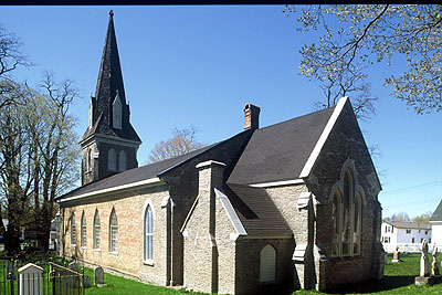 Fig. 6. Picton (ON), St Mary's Anglican Church, exterior from S; nave 1823; chancel, vestry and tower, 1863-64.