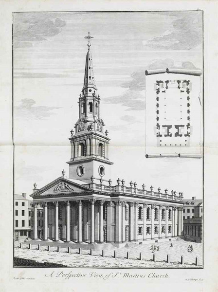 Fig. 2. London, St Martin-in-the-Fields, exterior from SW, from James Gibbs, Book of Architecture (1728)