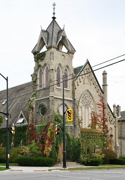 Fig. 11. Brantford, former Brant Avenue Wesleyan Methodist Church, John Turner, 1870-1871), exterior from (liturgical NW.