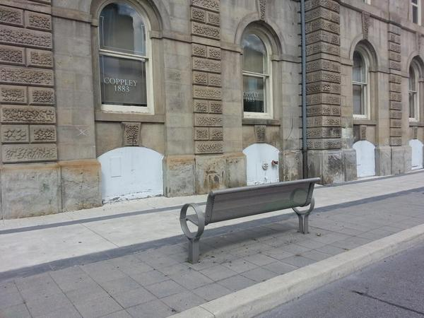 Time-out chair outside Coppley Apparel building facing the wall (RTH file photo)