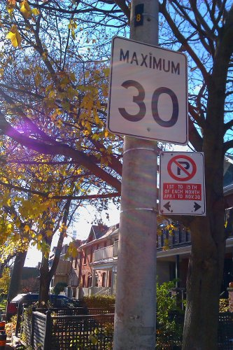 30 km/h sign on a residential street in Toronto's Beaches neighbourhood (RTH file photo)