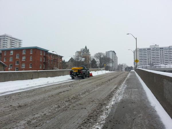 Truck plowing Hunter bike lane