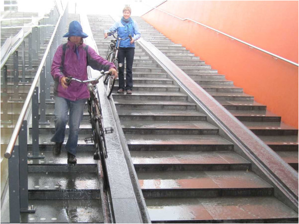 Bicycle stairs with right and left-handed users going down (Image Credit: Urbancommuter)