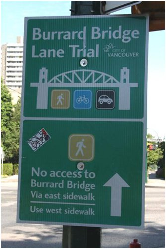 Burrard Bridge bike lane trial project.