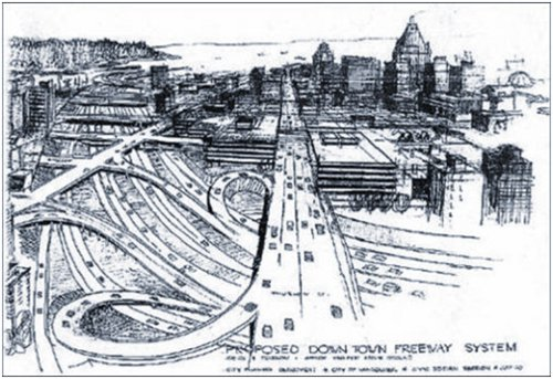 Elevated and sunken freeways carve up the city in this 1960s proposal.